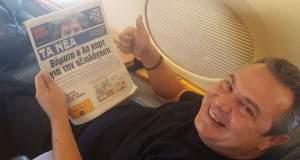 Αντιδράσεις για τη φωτογραφία Καμμένου με «Τα Νέα» στο πρωθυπουργικό αεροσκάφος