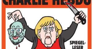 Η Μέρκελ τζιχαντίστρια αποκεφαλίζει τον Σούλτς στο εξώφυλλο του Charlie Hebdo